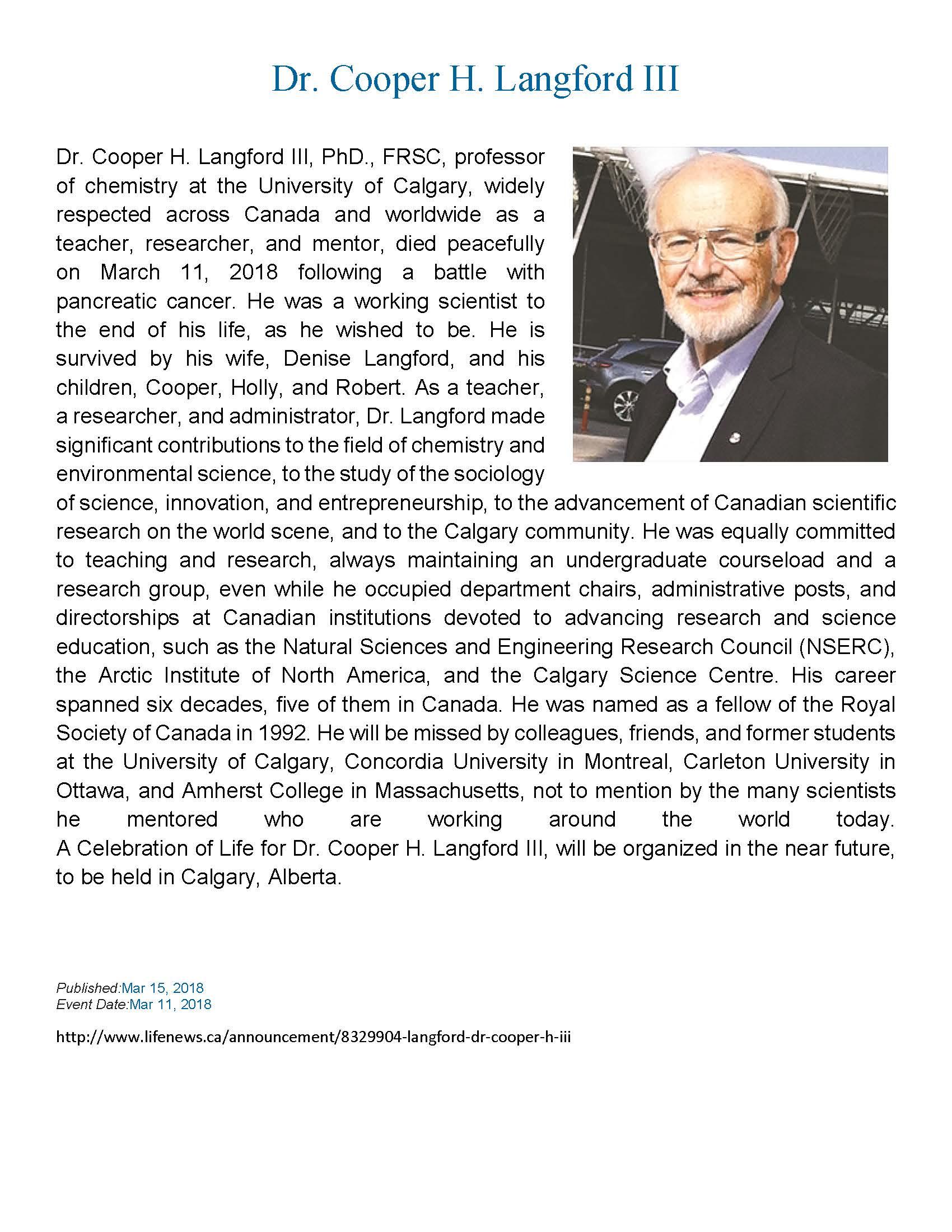 Dr. Cooper H. Langford