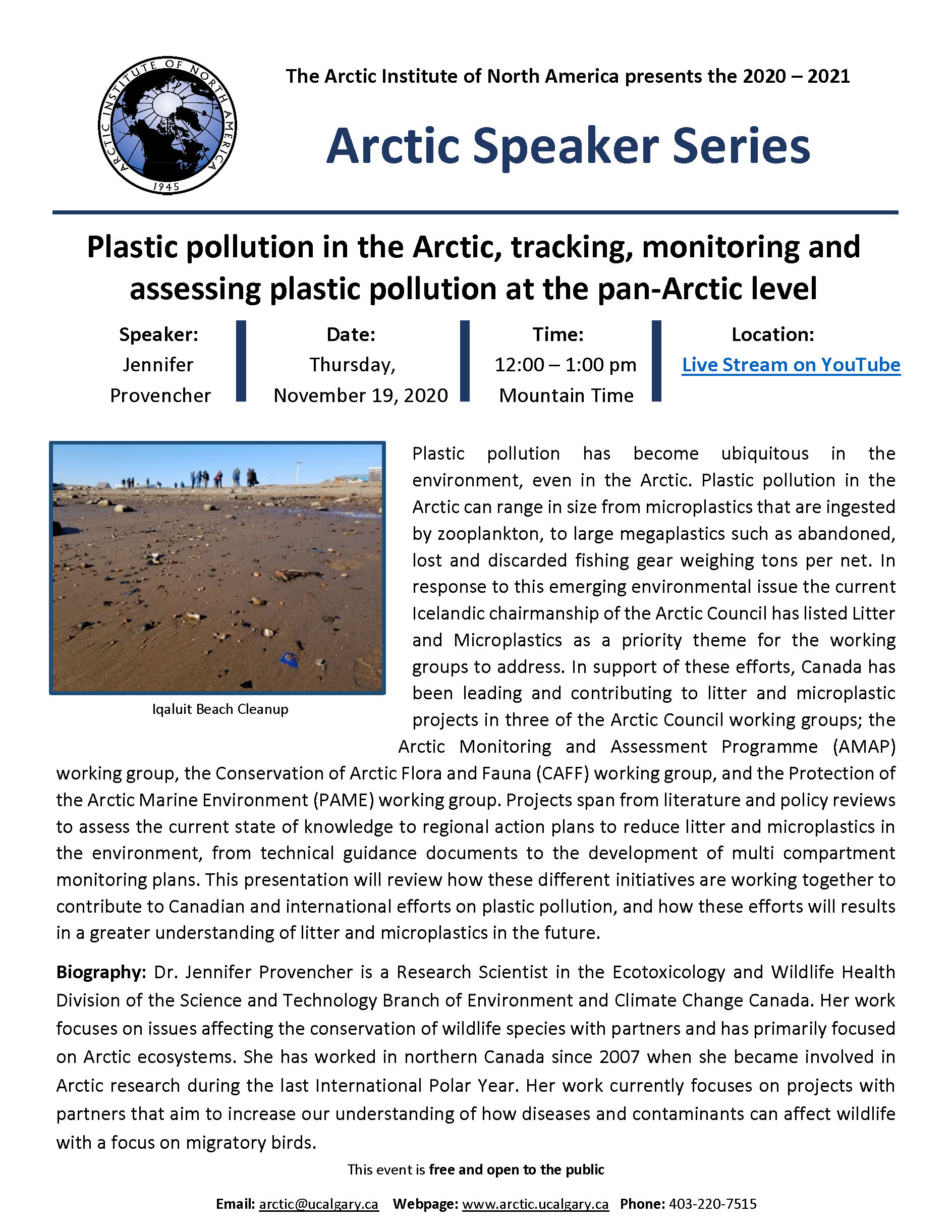 Jennifer Provencher-Arctic Speaker Series poster November 19 2020