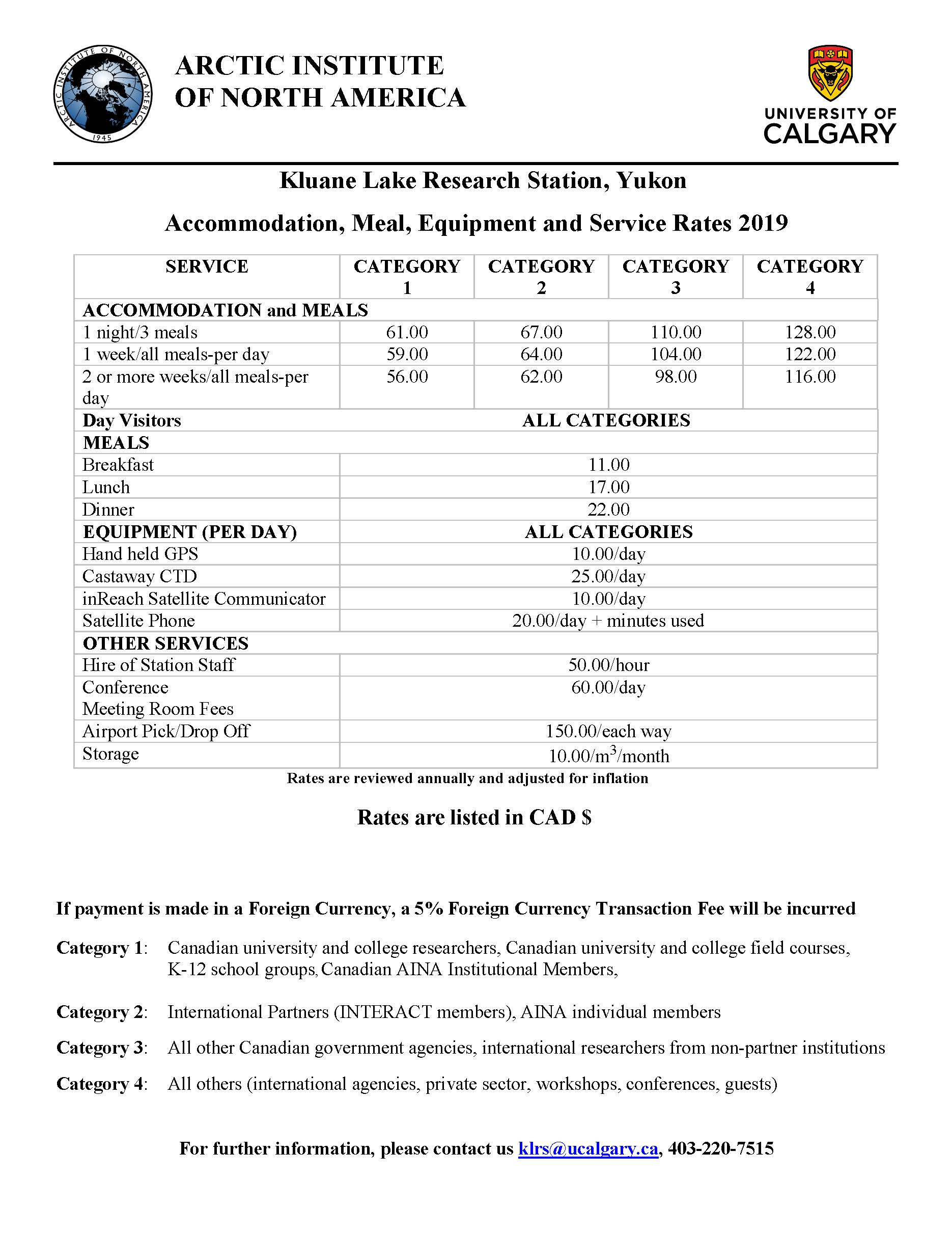 Kluane Lake Research Station Rates 2019