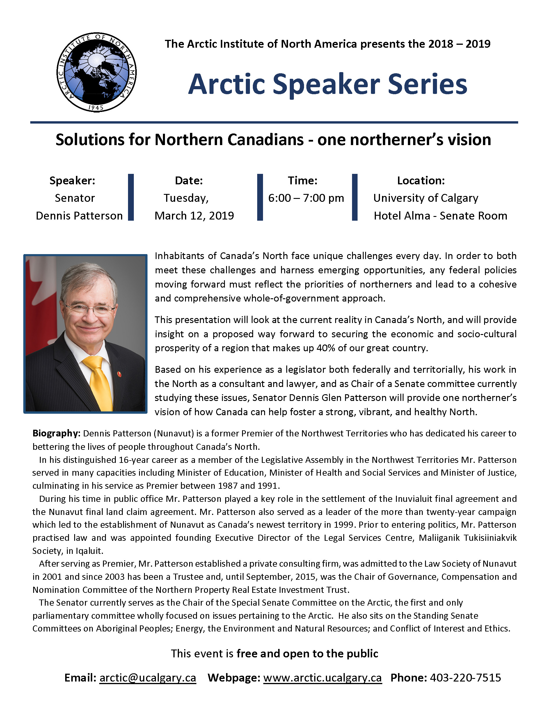 Senator Dennis Patterson Speaker Series Poster March 12, 2019